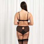 Mara High-Waist suspender Brief Black/Cordovan