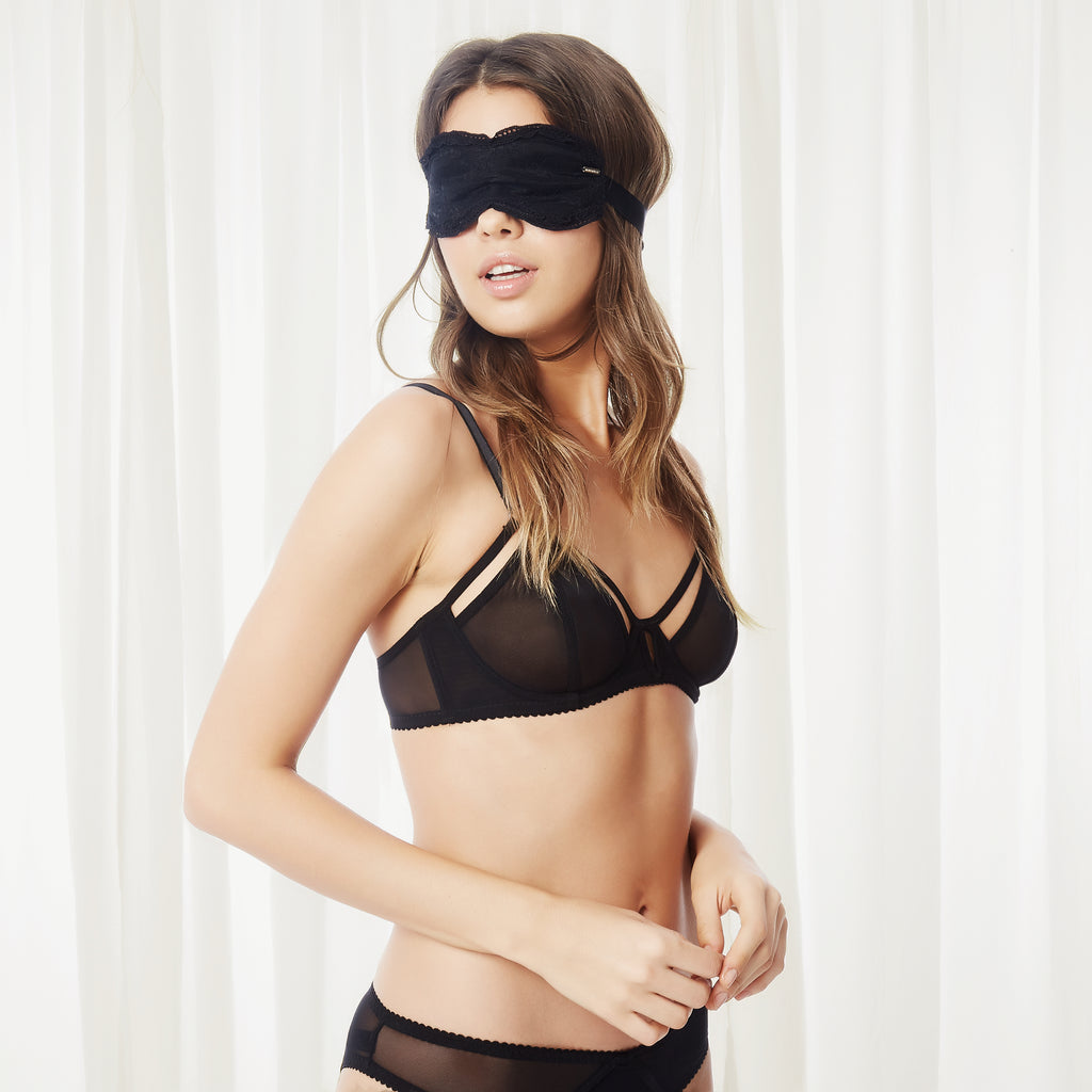 Odette Lace Eye Mask Black