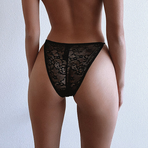 2 Pack Lace Brief Black