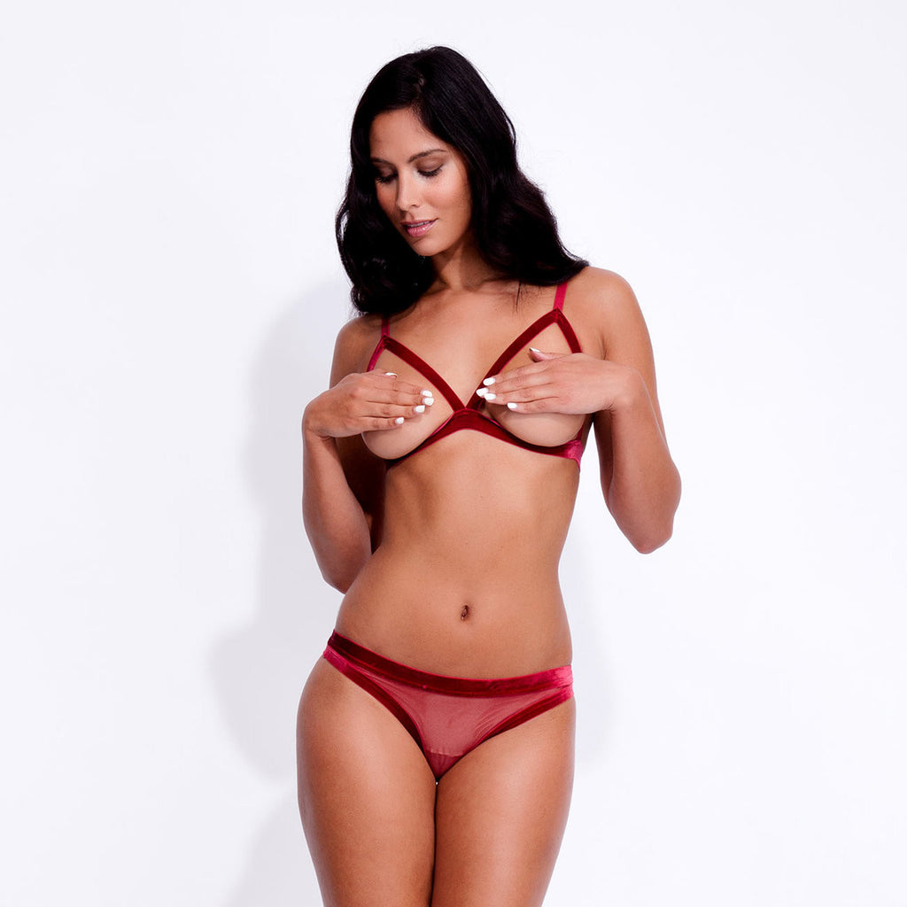 Ines Strap Mesh Brief Red