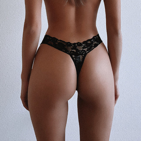 2 Pack Lace Thong Black