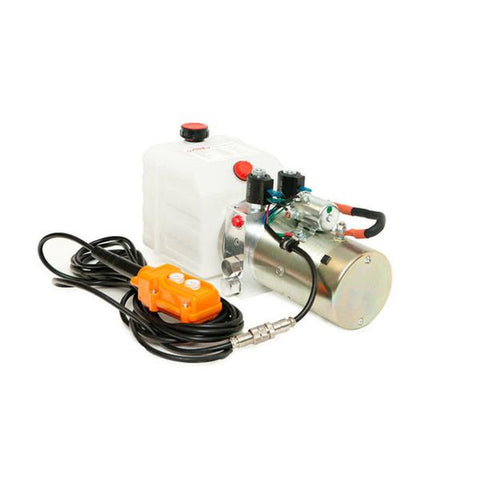 4 Quart - 12V Double Acting Hydraulic Dump Trailer Pump - Poly Reservoir