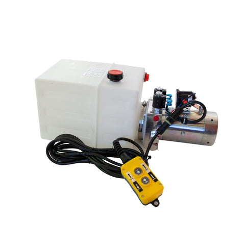 13 Quart - 12V Double Acting Hydraulic Dump Trailer Pump - Poly Reservoir