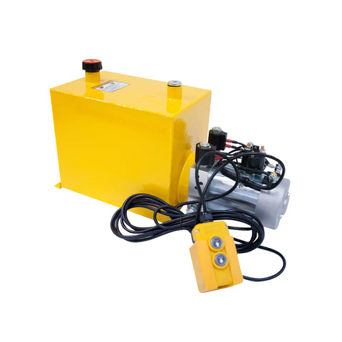 15 Quart - 12V Double Acting Dump Hydraulic Trailer Pump - Steel Reservoir