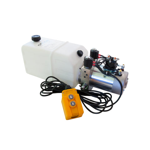 6 Quart - 12V Double Acting Hydraulic Dump Trailer Pump - Poly Reservoir