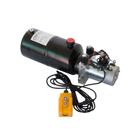 6 Quart - 12V Double Acting Hydraulic Dump Trailer Pump - Steel Reservoir
