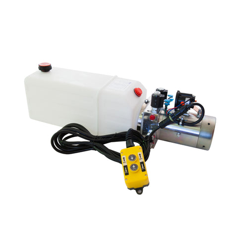 8 Quart - 12V Double Acting Hydraulic Dump Trailer Pump - Poly Reservoir