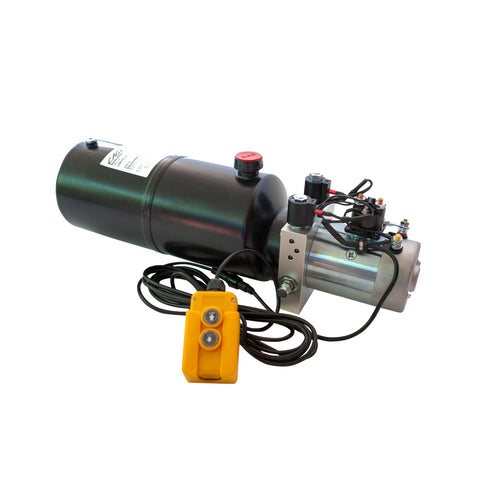 8 Quart - 12V Double Acting Hydraulic Dump Trailer Pump - Steel Reservoir