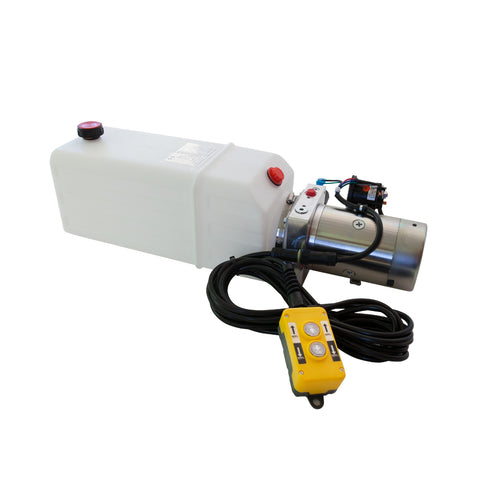 8 Quart - 12V Single Acting Hydraulic Dump Trailer Pump - Poly Reservoir