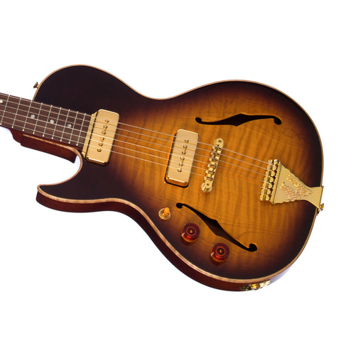B&G Guitars Little Sister LEFTY Crossroads Cutaway P-90 Tobacco Burst - LSLHCPTB - Left-Handed Semi-Hollow Electric Guitar - NEW!