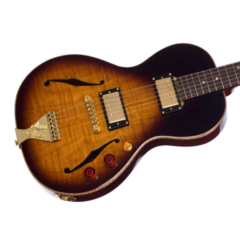 B&G Guitars Little Sister Crossroads Non-Cutaway Humbucker Tobacco Burst - LSNHTB - Semi-Hollow Electric Guitar - NEW!