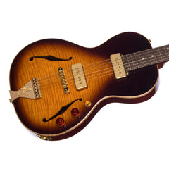 B&G Guitars Little Sister Crossroads Non-Cutaway P-90 Tobacco Burst - LSNPTB - Semi-Hollow Electric Guitar - NEW!