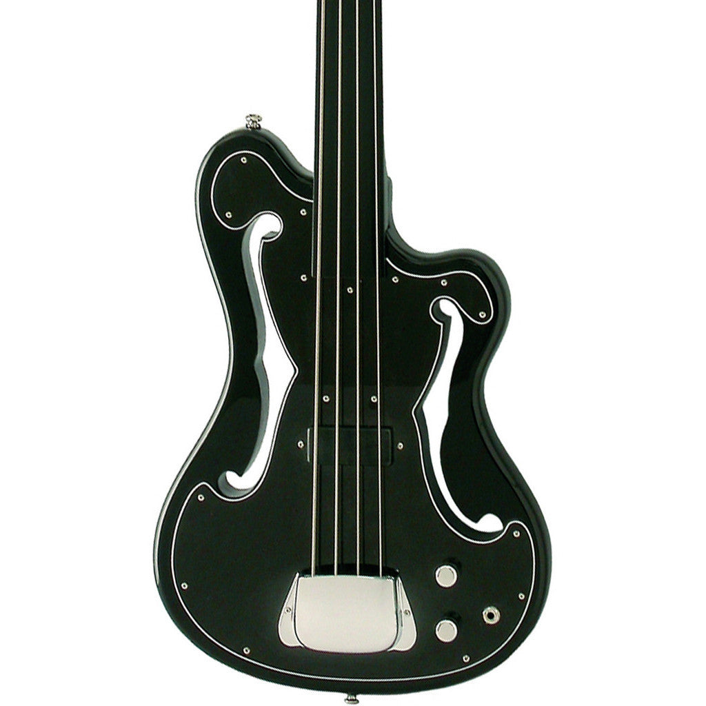 "Eastwood Guitars EUB-1 - Fretless Electric Bass Guitar - Black - Ampeg AUB ""Scroll Bass"" inspired Tribute Model - NEW!"