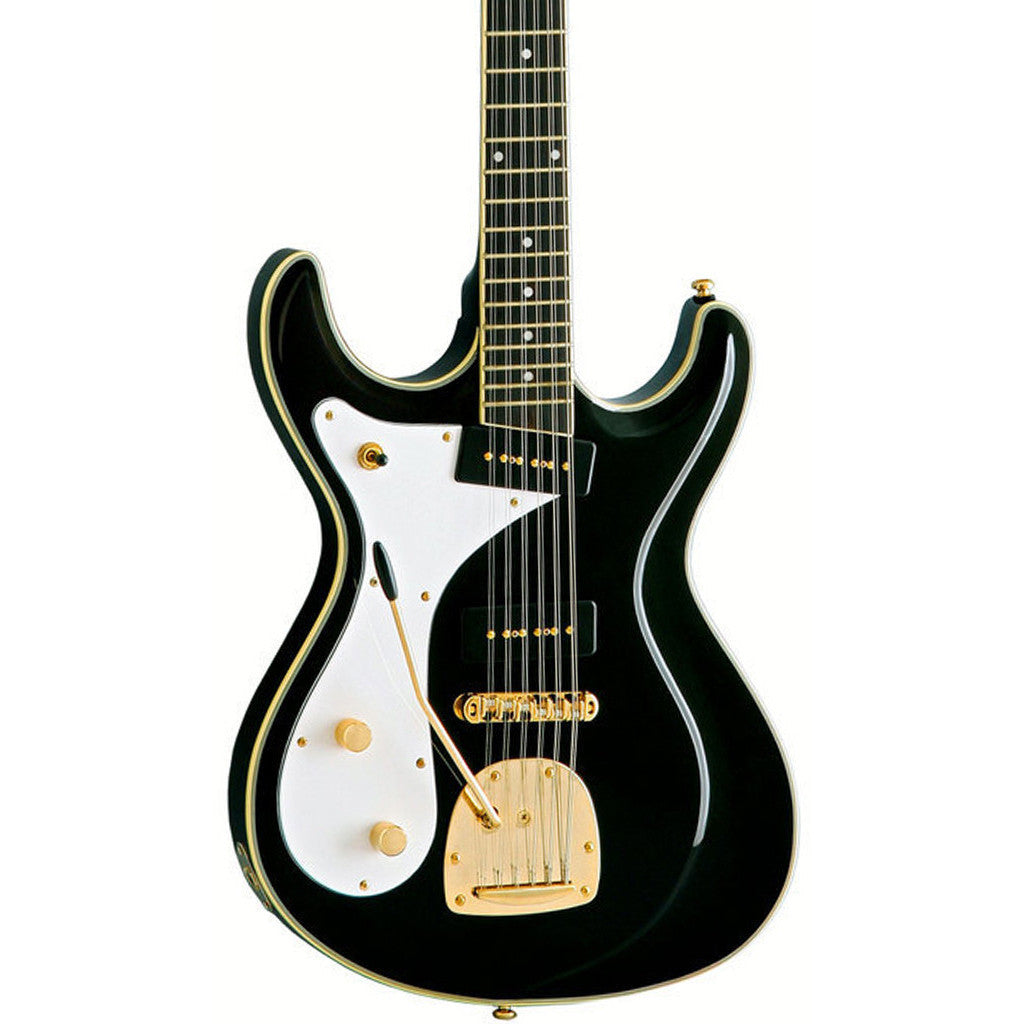 Eastwood Guitars Sidejack 12 DLX Lefty - Black - Left Handed Mosrite-inspired 12-string electric guitar - NEW!