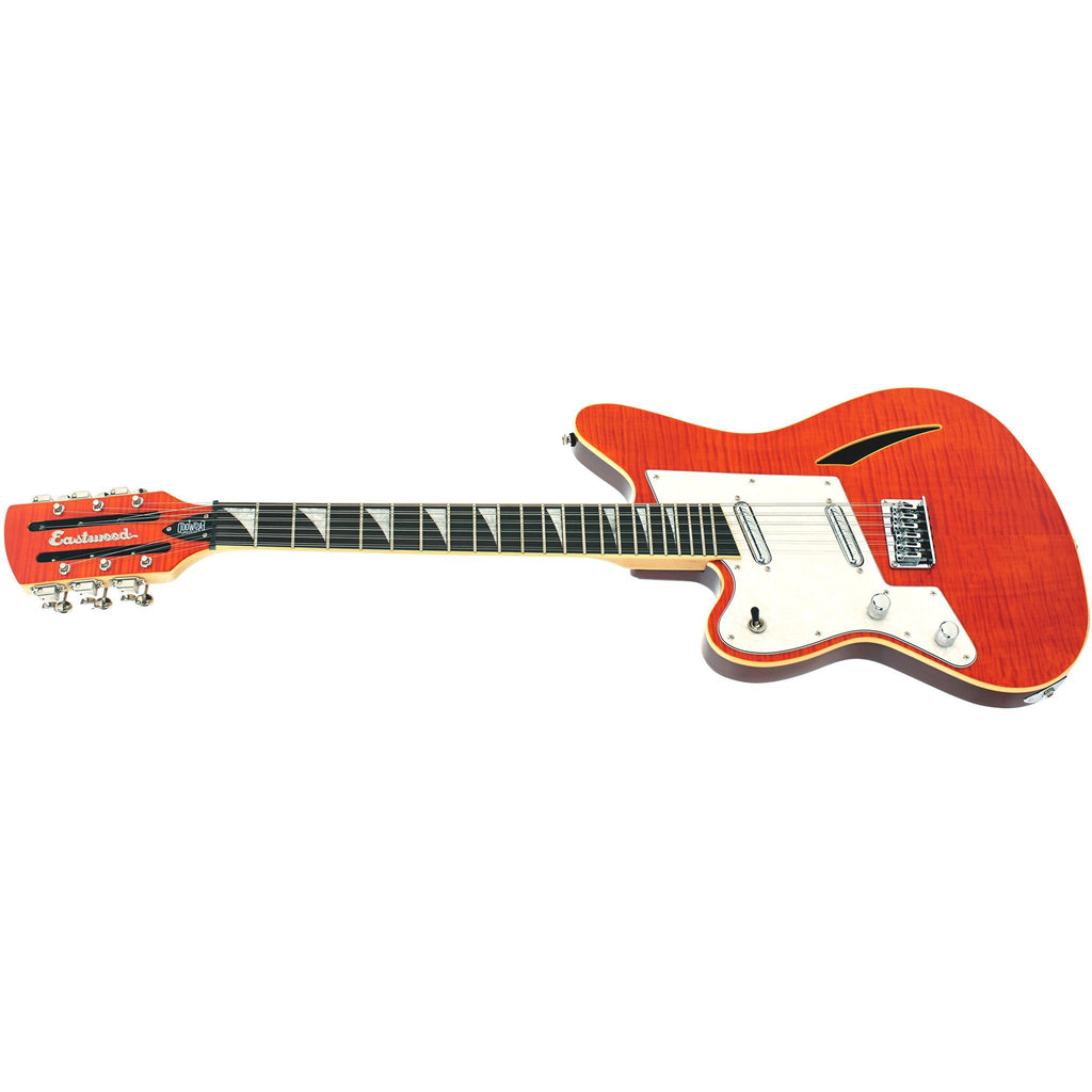 Eastwood Guitars Surfcaster 12 Orange Flame Left Hand Angled