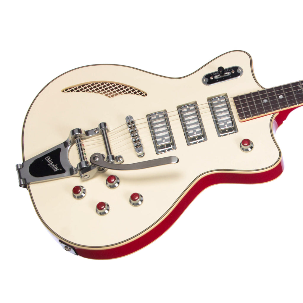 Eastwood Guitars Bill Nelson Astroluxe Cadet DLX - Semi Hollowbody Electric Guitar - Vintage Cream / Ruy Red - NEW!