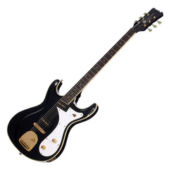 Eastwood Guitars Sidejack Baritone DLX - Black and Gold - Deluxe Mosrite-inspired Offset Electric Guitar - NEW!