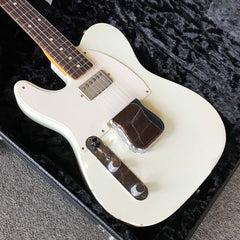 Used Fender Custom Shop 1963 Telecaster Relic - Lefty / Left Handed electric guitar - Olympic White