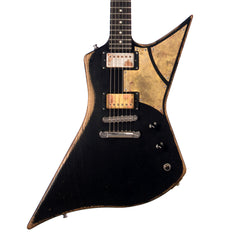 Paoletti Guitars Hot Machine - Distressed Black Explorer with 2 x Humbuckers and Ancient Reclaimed Chestnut Body