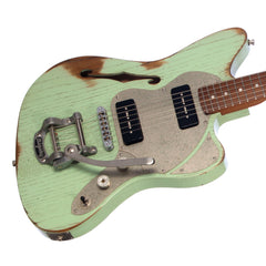 Paoletti Guitars Lounge Series 112 - Distressed Sage Green - Jazzmaster Thinline with 2 x P-90s and Ancient Reclaimed Chestnut Body - NEW!