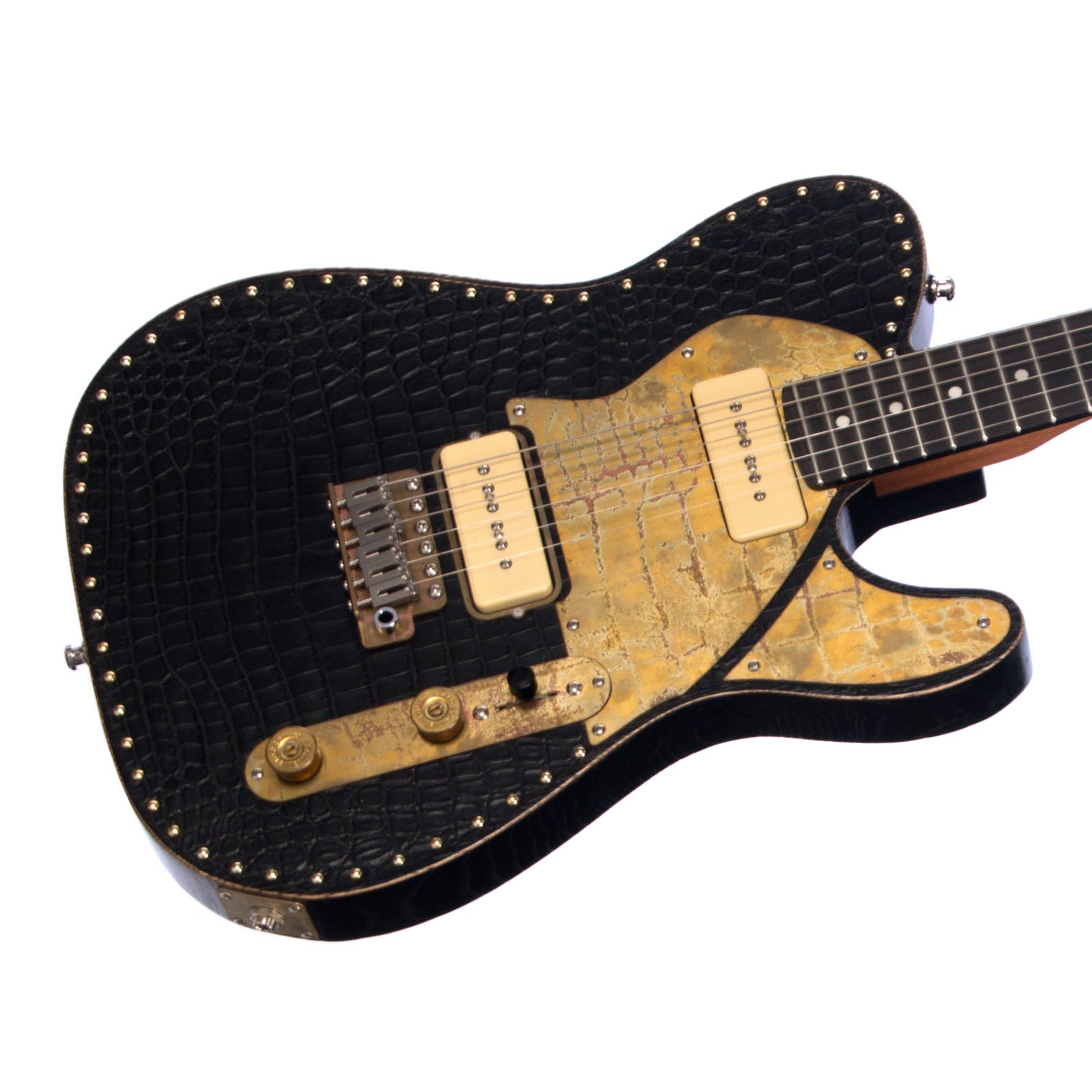 Paoletti Guitars Leather Series Nancy 2p90 Black Crocodile Re Switching Options For P90 Humbucker Combination Tele With 2 X P