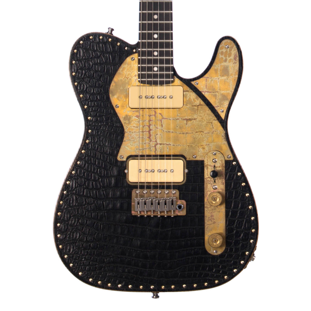 Paoletti Guitars Leather Series Nancy 2P90 - Black Crocodile Leather Tele with 2 x P-90s and Ancient Reclaimed Chestnut Body