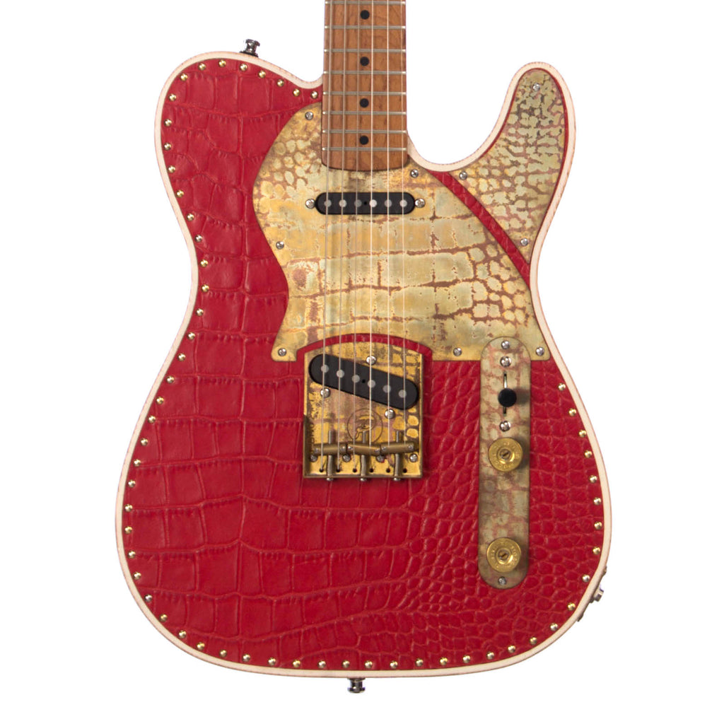 Paoletti Guitars Leather Series Nancy SS - Red Crocodile Leather Tele with Birdseye Maple Neck and Ancient Reclaimed Chestnut Body