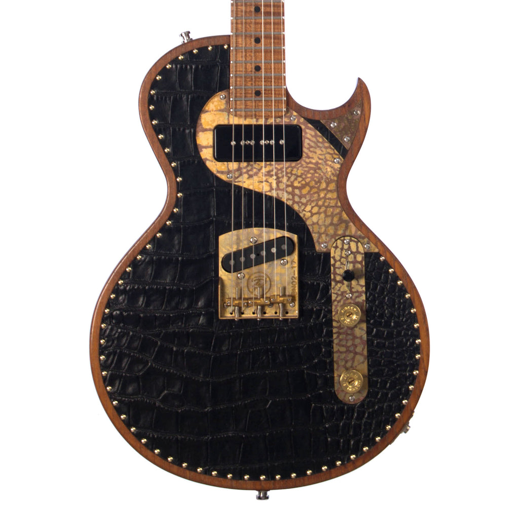 Paoletti Guitars Richard Fortus Signature Custom Leather Jr - Black Crocodile - Hand-Wound Pickups and Ancient Reclaimed Chestnut Body