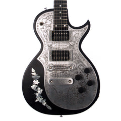 Zemaitis Guitars Custom Shop 1-off Metal Front CS24MF Leaf Inlay - Black - New!