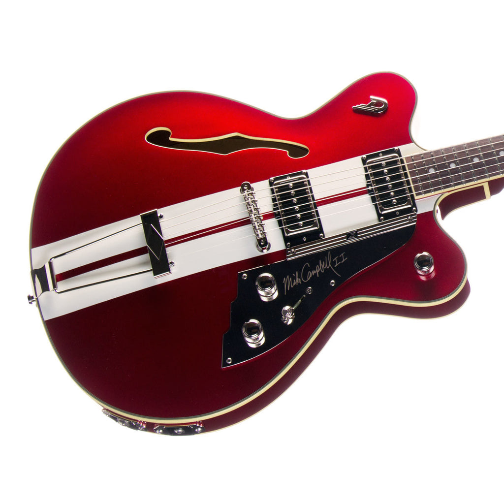 PRICE DROP! Duesenberg Guitars Mike Campbell II Signature Model - DCF-MV-II Hollowbody Electric Guitar - Metallic Red with Racing Stripes