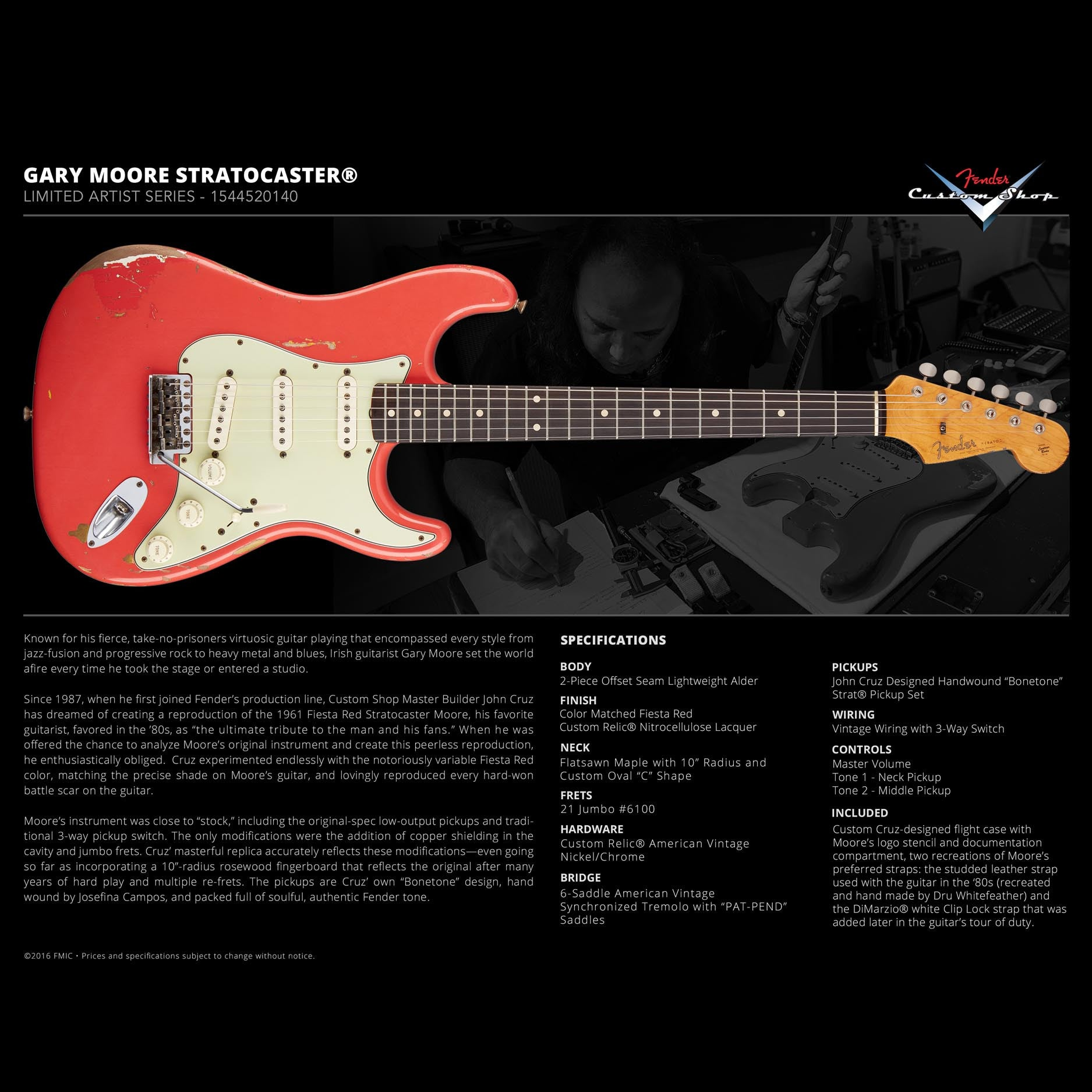 Fender Custom Shop Gary Moore Stratocaster Limited Edition Artist Guitar Wiring Actual Series Tribute Fiesta Red