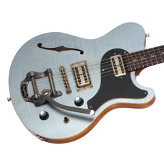 Nik Huber Guitars Surfmeister - Trans Ice Blue - Flame Top - 6.0lbs - Custom Electric Guitar, NEW!