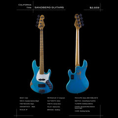Sandberg Guitars California Series TM4 - Blue Relic - Custom Hand-Made Electric Bass - Boutique Guitar Showcase!