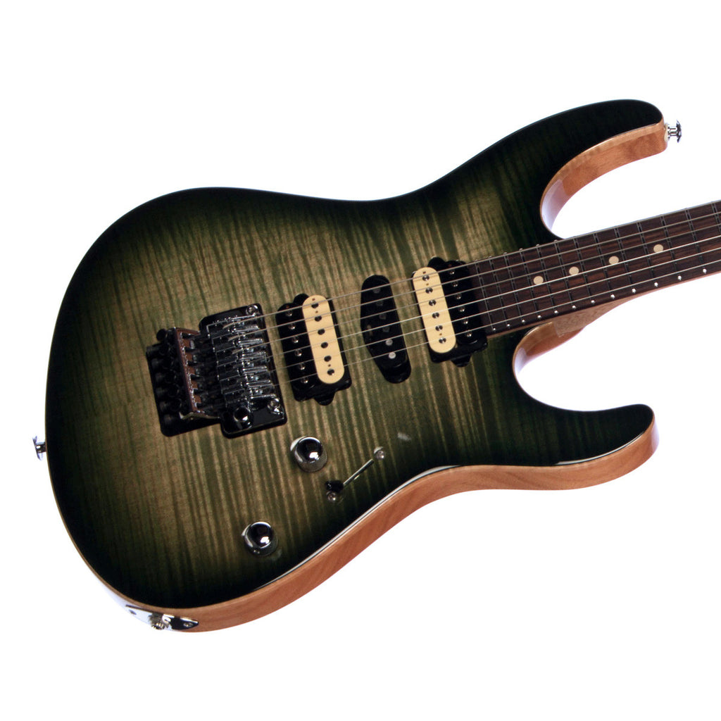 Suhr Custom Modern Carve Top Limited Edition - Trans Green Burst