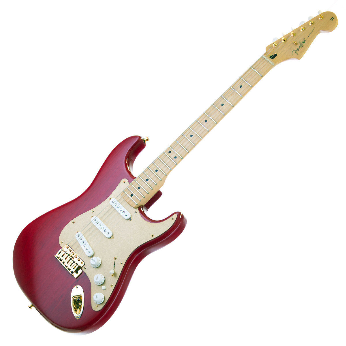 used fender deluxe player stratocaster crimson red transparent make 39 n music. Black Bedroom Furniture Sets. Home Design Ideas