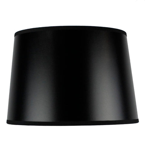 0-004887>10x12x08 SLIP UNO FITTER Hardback Shallow Drum Lamp Shade Black