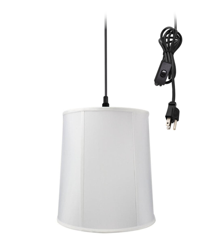 0-002000>1-Light Plug In Swag Pendant Ceiling Light White Shade