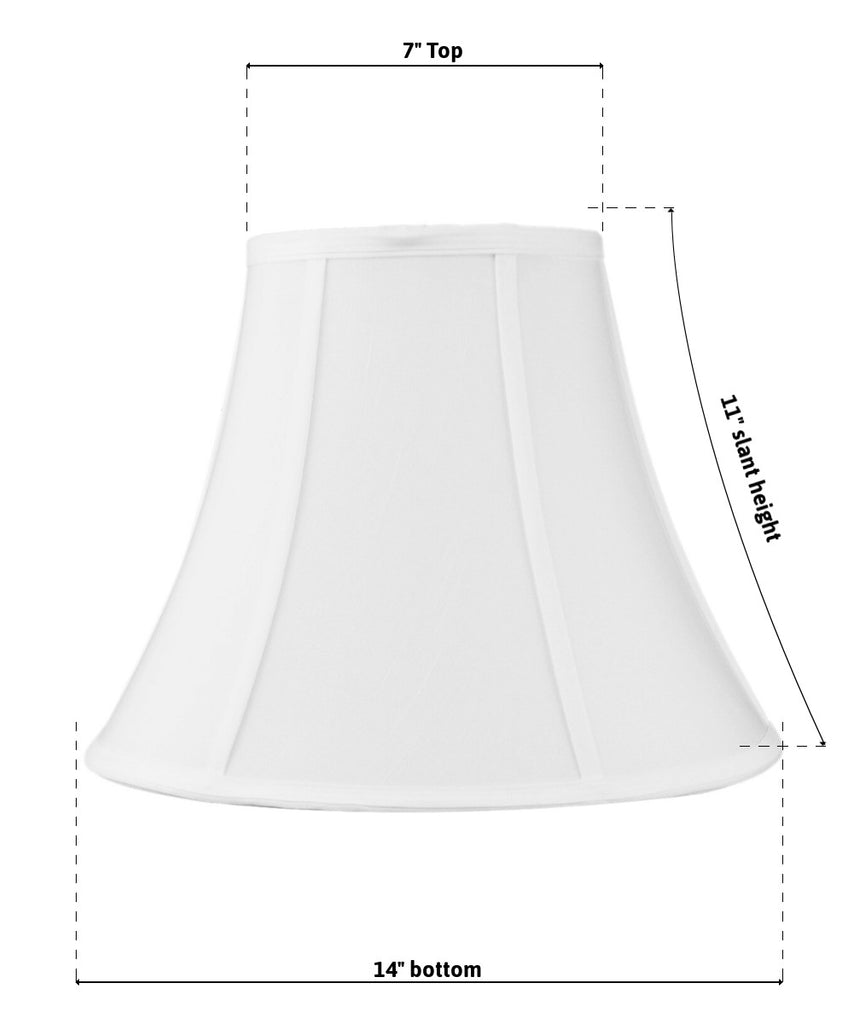 0-002279>7x14x11 SLIP UNO FITTER White Bell Shantung Lampshade