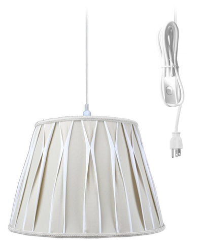 0-013099>1-Light Plug In Swag Pendant Lamp Biege/Off-White Shade