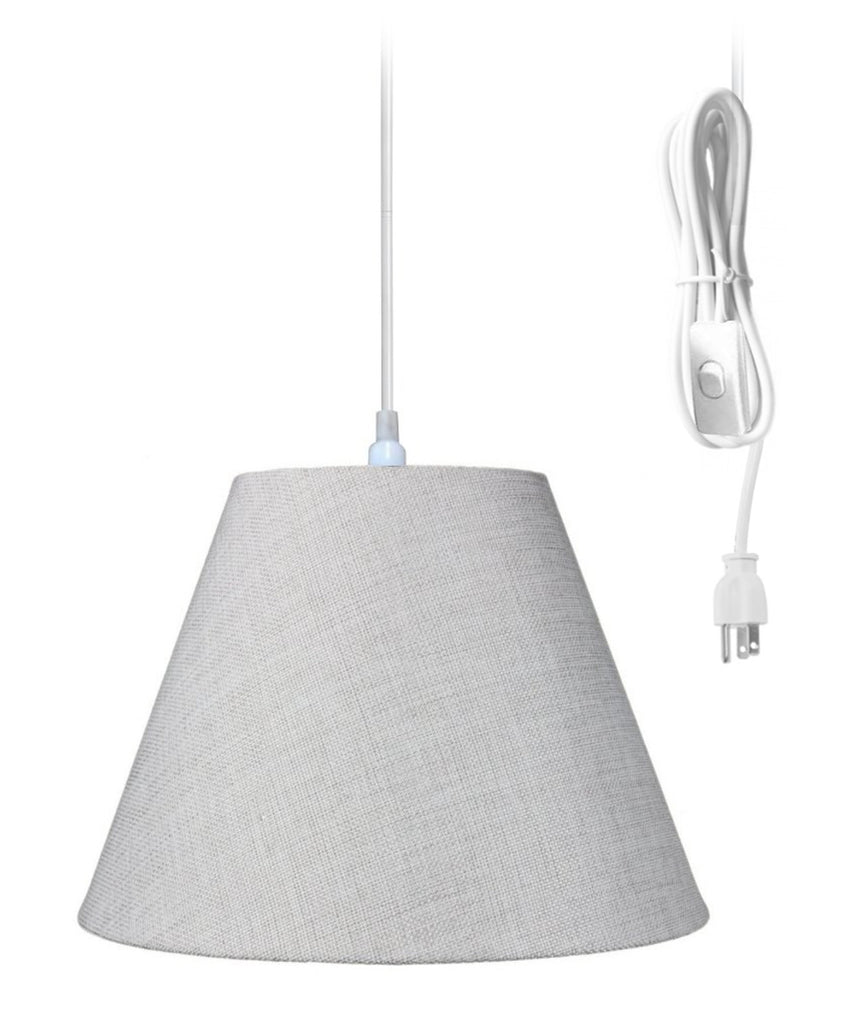 0-000109>Swag Pendant Plug-In One Light Khaki Burlap Shade