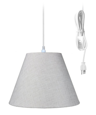 Swag Pendant Plug-In One Light Khaki Burlap Shade