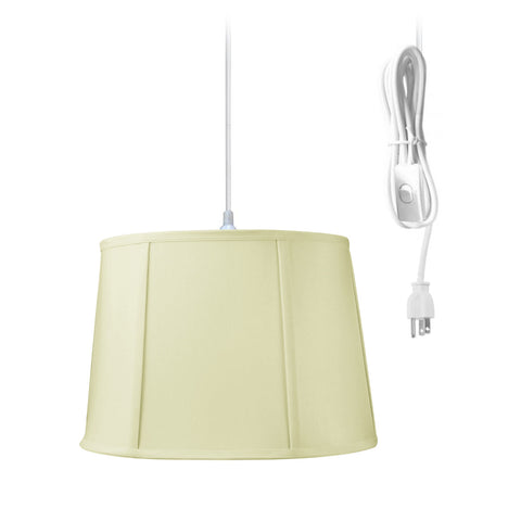 0-001301>Drum 1 Light Swag Plug-In Pendant Hanging Lamp 10x12x08 Egg Shell Shantung Shade