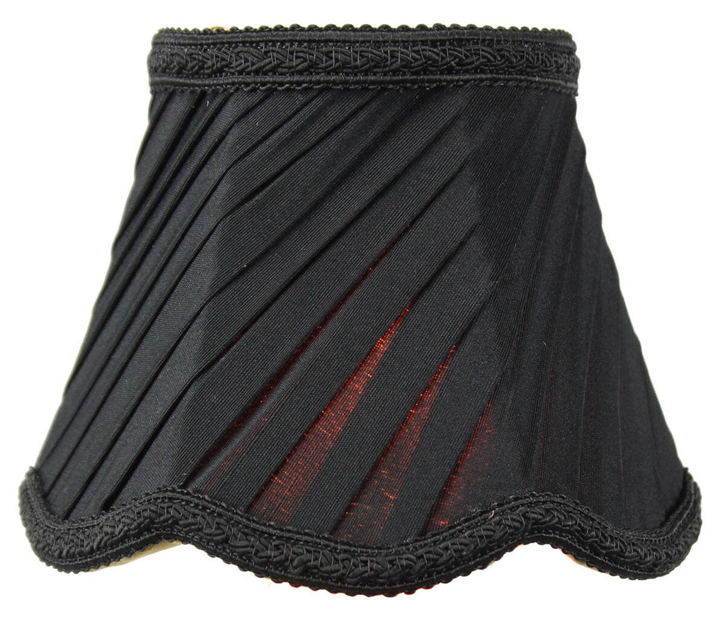 0-001541>3x5x4 Pleated Scallop Clip-on Candelabra Lampshade Black Fabric