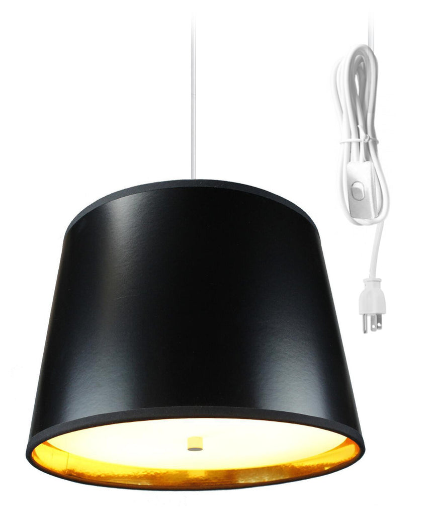0-002062>Black Gold-Lined  2 Light Swag Plug-In Pendant with Diffuser