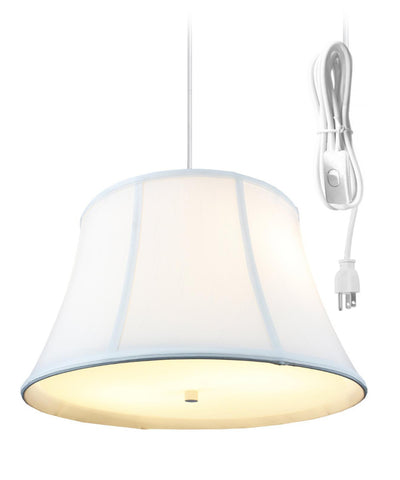 0-002068>Egg Shell  2 Light Swag Plug-In Pendant with Diffuser