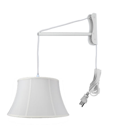 MAST Plug-In Wall Mount Pendant, 1 Light White Cord/Arm, White Shade 13x19x11