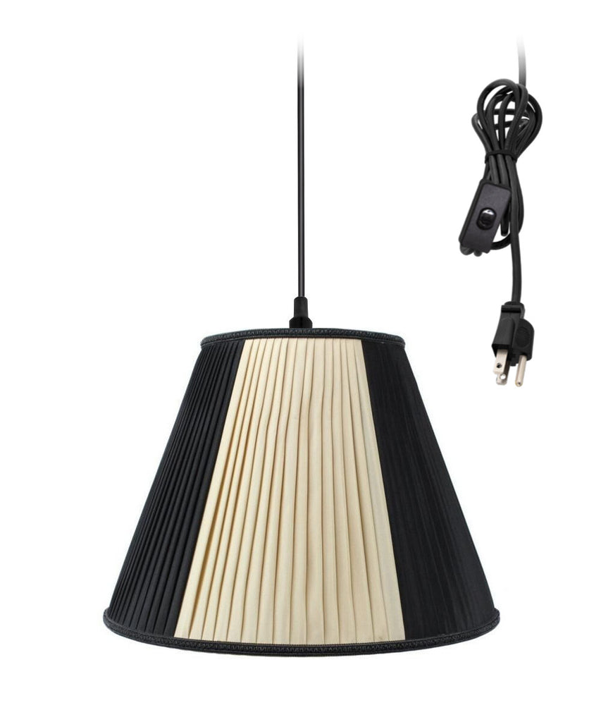 0-002000>Hanging Swag Pendant Plug-In One Light Beige/Black Shade