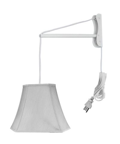 MAST Plug-In Wall Mount Pendant, 1 Light White Cord/Arm, Gray Shade 09x16x12