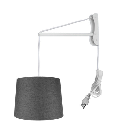 0-001234>MAST Plug-In Wall Mount Pendant, 2 Light White Cord/Arm with Diffuser, Drum Granite Gray Burlap Shade 12x14x10