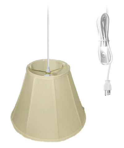 0-021237>1-Light Plug In Swag Pendant Ceiling Light Eggshell Shade